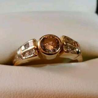 1.15 Carat Champagne And White Diamond Ring Valuation $4500+