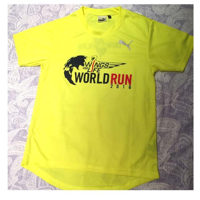 2016 Wings For Life World Run Puma 女生 螢光色短T 跑步 Running