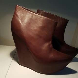 Jeffrey Campbell Zorey Wedge Booties Brown Leather Boots Sz 10