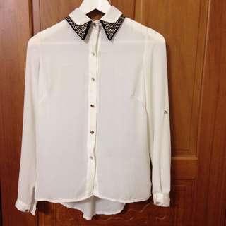 造型領雪紡白襯衫