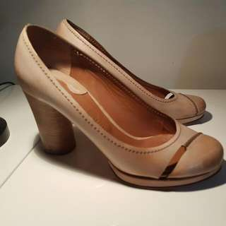 Chloe Leather Court Shoe Sz 40 Tan / Nude Sz 9