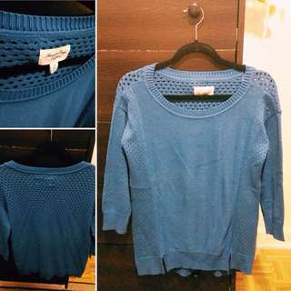 Blue Sweater With Mesh Back