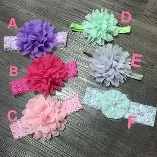 韓版雪紡寬蕾絲寶寶兒童大花朵髮帶 頭花 彈性大 多色 女寶 女童