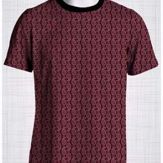 Plus Size Men's Clothing Full paisley print on a maroon t-shirt EE0522