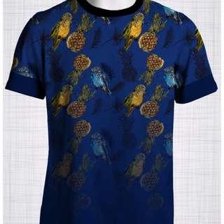Plus Size Men's Clothing Pineapple & Parrots t-shirt T009