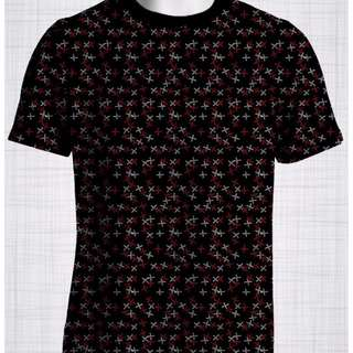 Plus Size Men's Clothing Red & White Crosses t-shirt AA0036