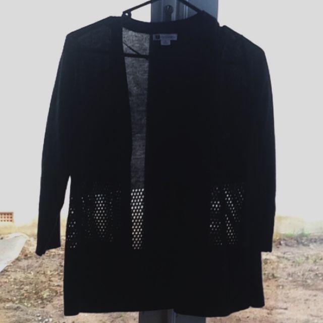 3/4 Sleeve Black Cardigan