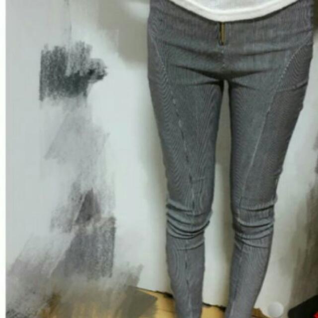 細條紋窄管褲