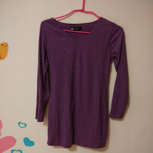 紫色棉上衣