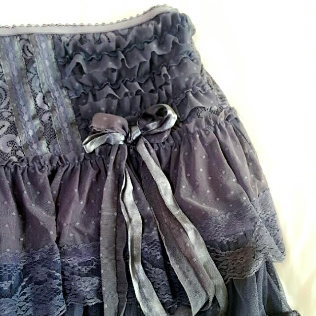 日本高單層次蕾絲紫色短裙半裙 蝴蝶結