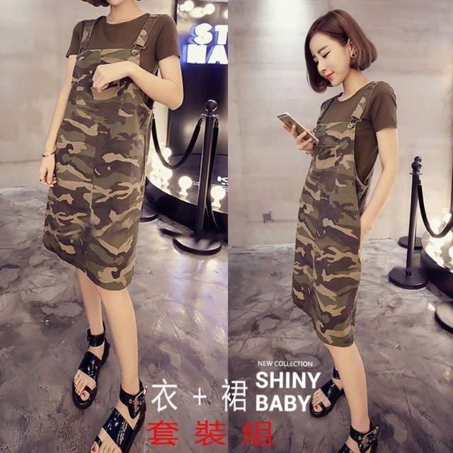 韓國 個性休閒軍綠色短袖T恤+迷彩俏皮吊帶連身裙