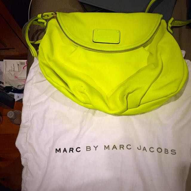 Authentic Fluro Yellow Marc By Marc Jacobs Cross Body Bag