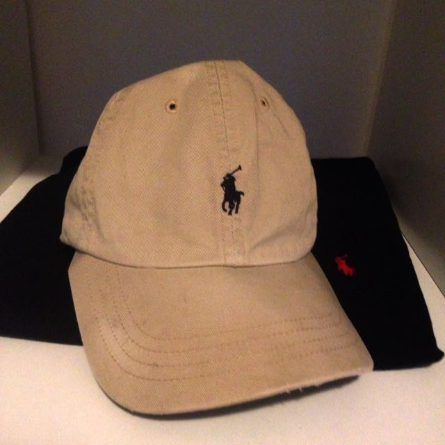 AUTHENTIC Ralph Lauren Vintage Small Pony Cap Hat (Beige & Black)