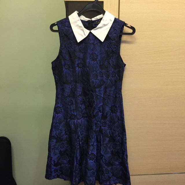 Blue Collared Floral Dress