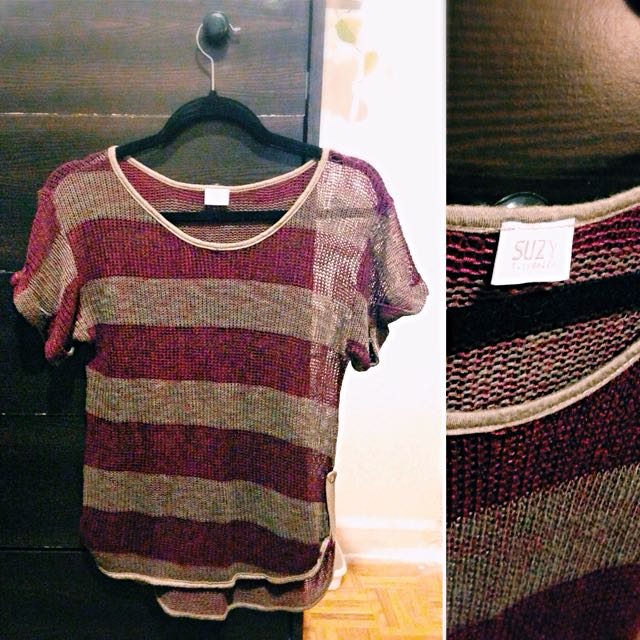 Burgundy & Brown Striped Mesh Top