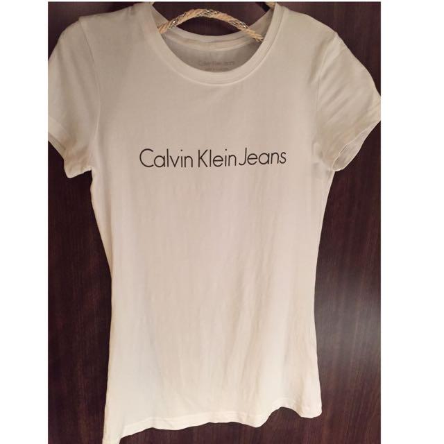 專櫃正品Calvin Klein Jeans 女生cs白t恤 小包袖 合身舒適萊卡 棉
