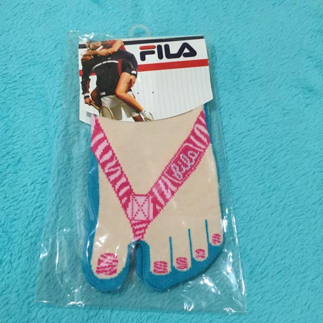 FILA Split Toe Ankle Socks (Pink/Turquiose)