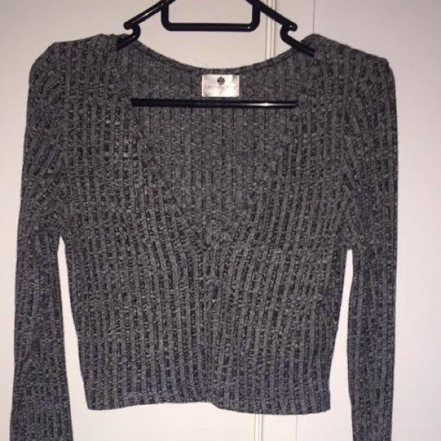 Grey Long-Sleeve Crop Top