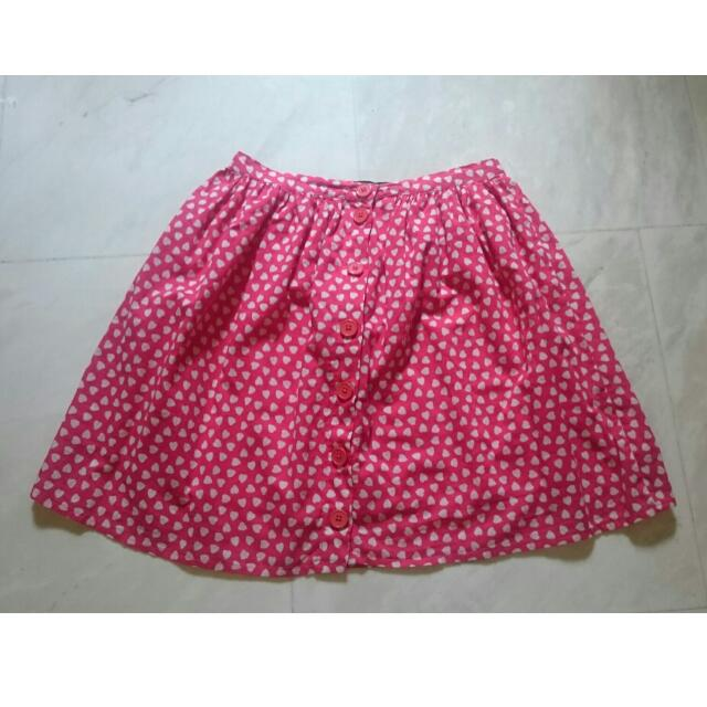 Heart Printed Button Down Skirt