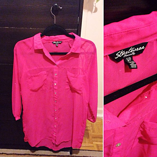 Hot Pink Long Button-up