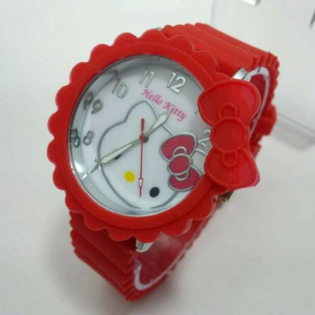 JAM TANGAN HELLO KITTY RUBBER RED