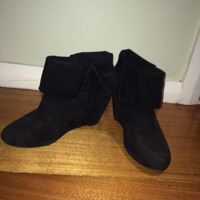 Jay Jays Black Wedge Ankle Boots