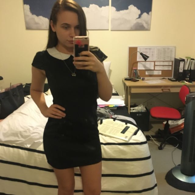Little Black Dress With White Collar And Lace Insert