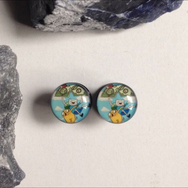 Pair Of Adventure Time 8mm (0g) Acrylic Screw Plugs