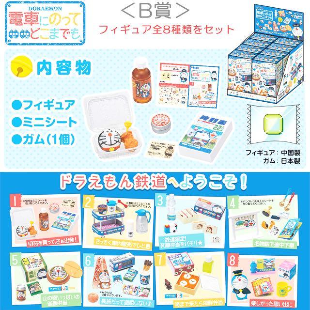 New Re-Ment Miniature Doraemon Densha ni Notte Train Lunch Box Full set of 8