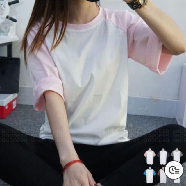 百搭素面撞色短袖t恤