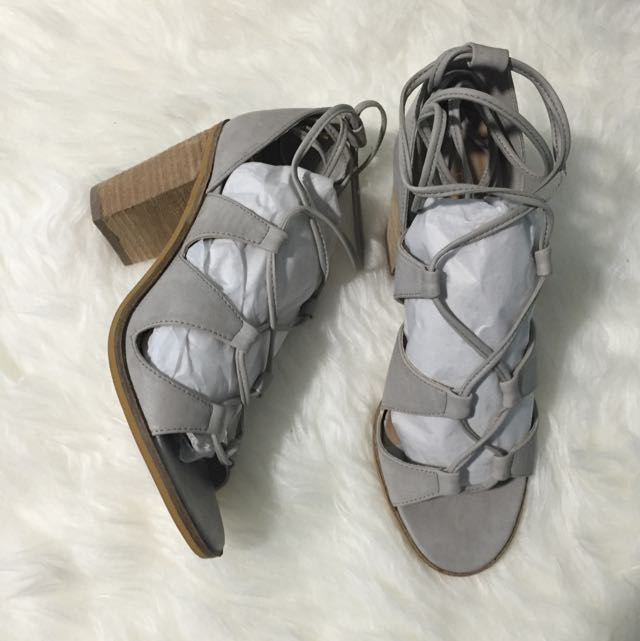 THERAPY Grey lace up block heel