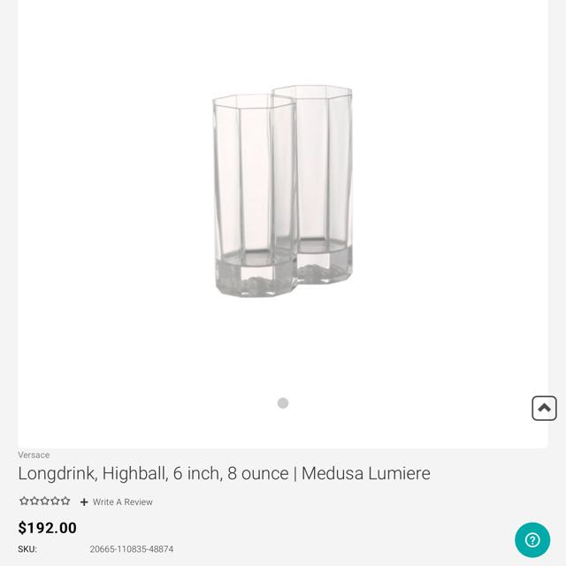 3c1e735594f1 Versace Medusa Crystal Long drink By Rosenthal -one Pair Left ...