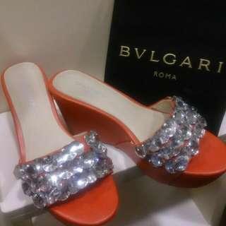 泰國專櫃  奢華水鑽紅色楔形高跟鞋 38