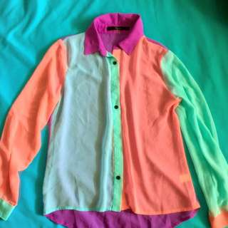 Colourblock Button Up