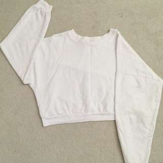 American Apparel California Fleece Cropped Sweatshirt - White