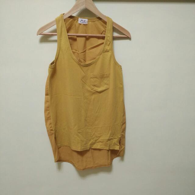 通通100~雙材質拼接口袋背心,顯白黃