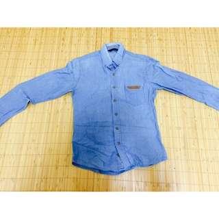 長袖藍襯衫(M)