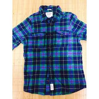 👔A&F紫藍格紋長袖襯衫 (全新)