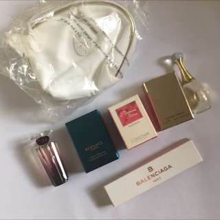 6 x Perfume Samples: Dior J'Adore, Versace Eros, Lancôme, Balenciaga, Loccitane Pivoine Flora edt edp eau de parfum toilette