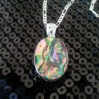 Sterling Silver Stamped Paua Shell