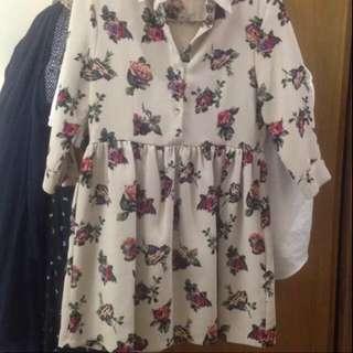 正韓 襯衫洋裝 滿版花卉