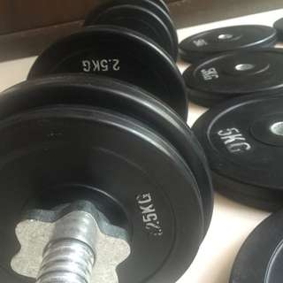 55 Kg. Set Rubber Coated Dumbbell Plates And Dumbbell Bar(re-priced)