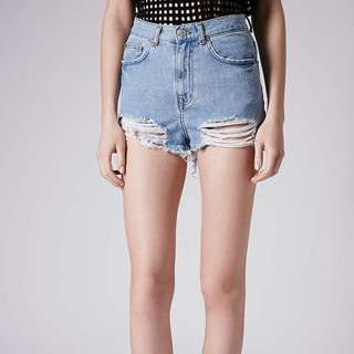 TOPSHOP Moto Ripped Mom Shorts