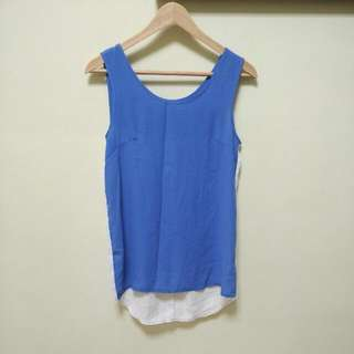 通通100~雙色藍白拼接雪紡背心🌵夏季必備🌵