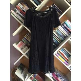 Zara Black Jacquard Dress