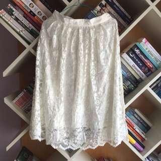 Forever 21 White Midi Skirt