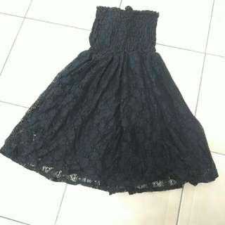 黑色鬆緊兩穿平口蕾絲裙