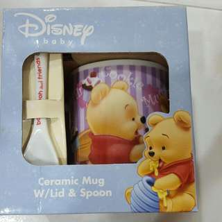 Winnie The Pooh Cup With Lid And Spoon