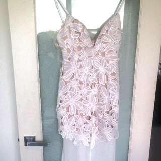 #1212sale Sexy And Elegant ~ Lace Dress With Long Sheer Skirt ~ Size 10-12.