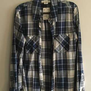 h&m blue checkered flannel